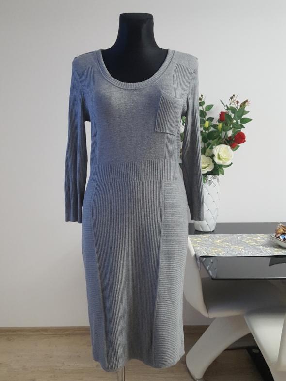 popielata sukienka z dzianiny H&M