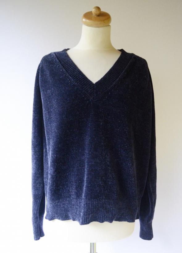 Sweter Granatowy Welurowy Welur Lindex XL 42 Oversize