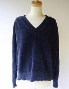 Sweter Granatowy Welurowy Welur Lindex XL 42 Oversize...