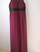 Elegancka bordowa długa suknia 48 50 52 wesele sylwester studni...