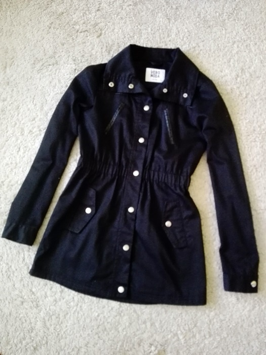 Czarny płaszczyk parka vero moda XS S 34 36 kurtka