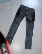 czarne grafitowe spodnie ze skórzaną wstawką
