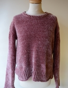 Sweter Bik Bok S 36 Brudny Róż Welurowy Welur Oversize...