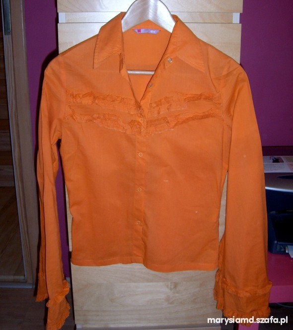 neonowa koszula hipisowska z falbankami