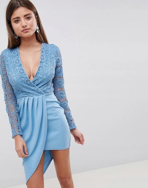 Sukienka asymetryczna błękitna NOWA koronkowa rozmiar S...
