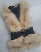 Kamizelka skóra skórka futerko zipy siwiec...