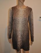 Cynthia Rowley dzianinowa sukienka brąz beż S 36