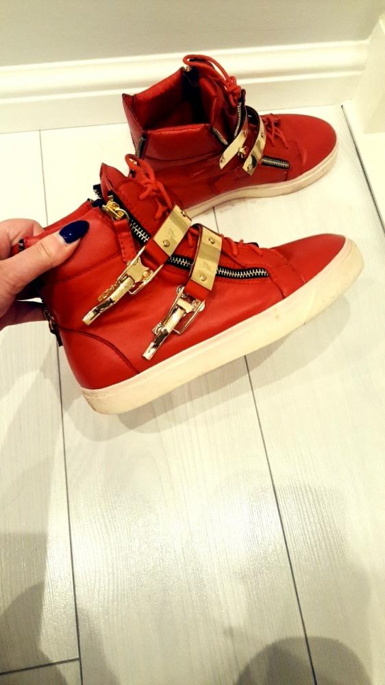 Buty sneakersy ala zanotti czerwone złote blaszki...