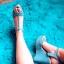 Niebieskie sandałki ćwieki na koturnie