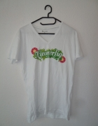 nowa bluzka biała bawełna nadruk XL 4code