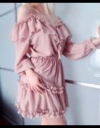 Sukienka hiszpanka blady róż S