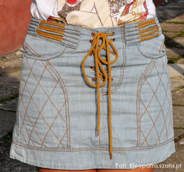 Spódnice jeansowa spódnica z wiązaniem