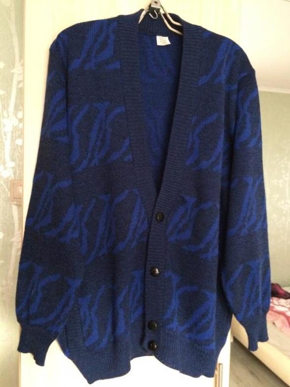 Granatowy we wzory Kardigan wełniany sweter z kieszeniami