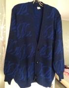 Granatowy we wzory Kardigan wełniany sweter z kieszeniami...