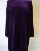Sukienka Fioletowa Hiszpanka XL 42 XLNT Welurowa Welur...