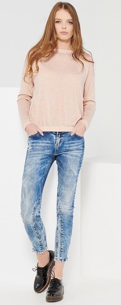 Sweter cienki brokatowy pudrowy róż Reserved M...