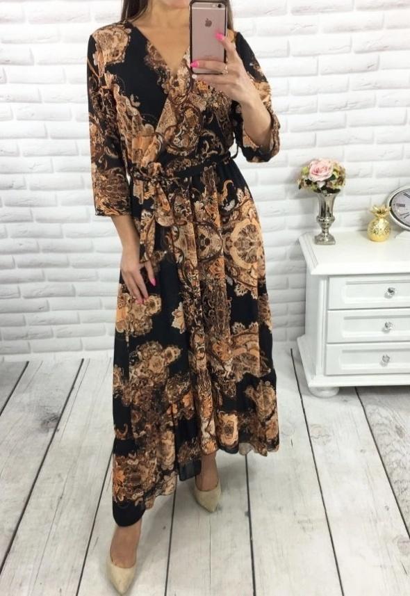 maxi długa wzory glamour złote versace dekold boho uni sukienka...