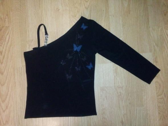 Czarna asymetryczna bluzka z motylkami...