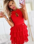 sukienka falbanki czerwona XS S M L KOLORY...