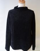Sweter Czarny Bik Bok Prążki Welurowy M 38 Welur...