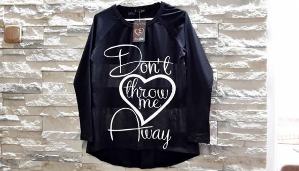 Nowa czarna bluzka napisy oversize