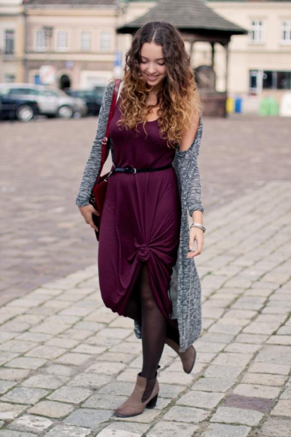 Bordowa sukienka maxi h&m M