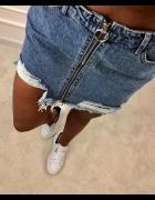 Spódniczka jeansowa z zamkami szarpana wysoki stan...