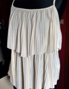 plisowana kremowa bluzka H&M xs