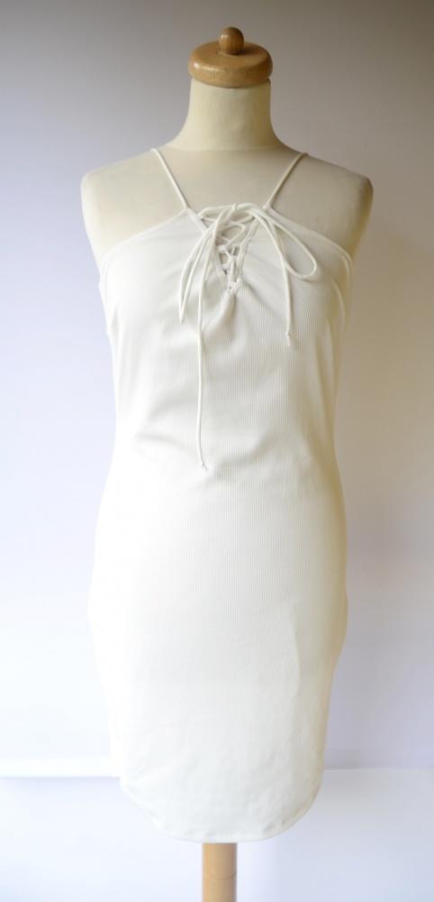 Sukienka Biała Gina Tricot L 40 Prążki Sznuki Sexy Biel...
