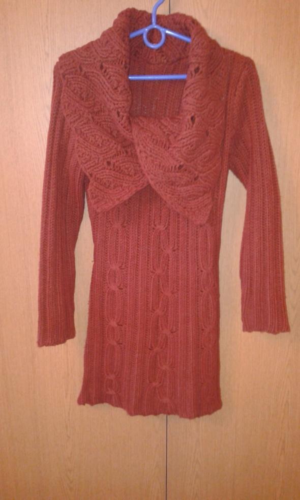 Sukienka długi sweter S 36 z wełną