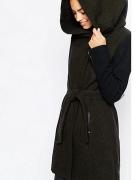Ciepły jesienny zimowy płaszcz z kapturem katur zamek khaki zie...