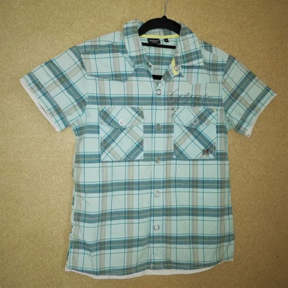 Niebieska letnia chłopięca koszula w kratę 158 cm