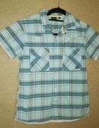 Niebieska letnia chłopięca koszula w kratę 158 cm...