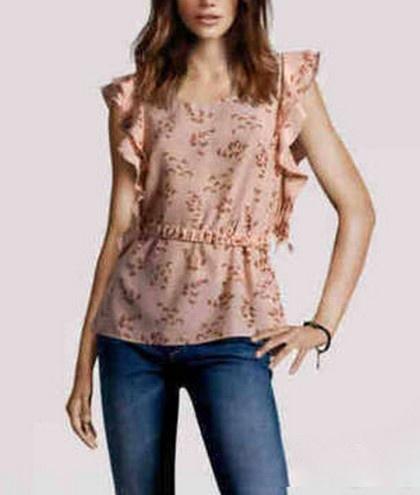 Pudrowa bluzka z falbankami falbanki H&M ptaki