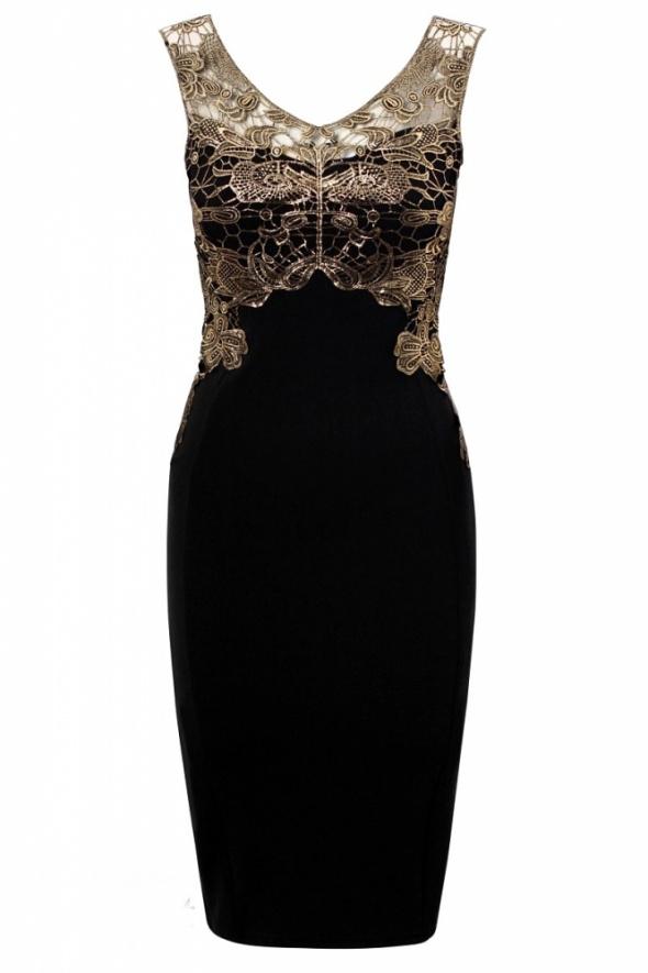 Dopasowana sukienka tuba bodycone ze zlotą koronką gipiurą