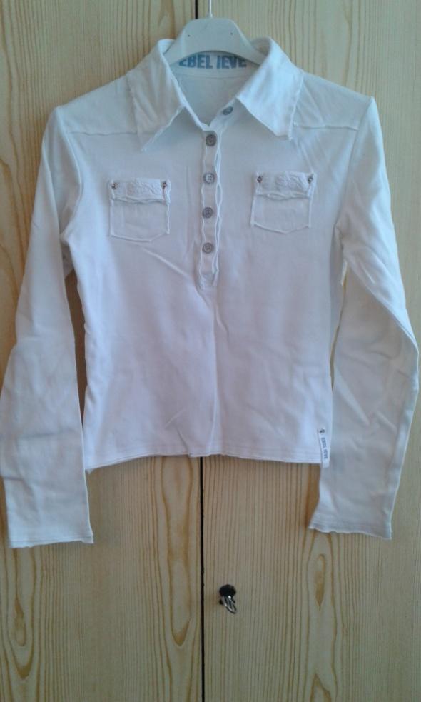 Biała bawełniana bluzka z kołnierzykiem XS 34