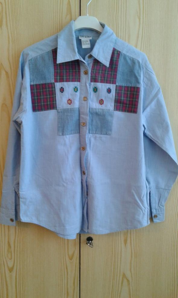 Jeansowa koszula z naszywkami 36 S