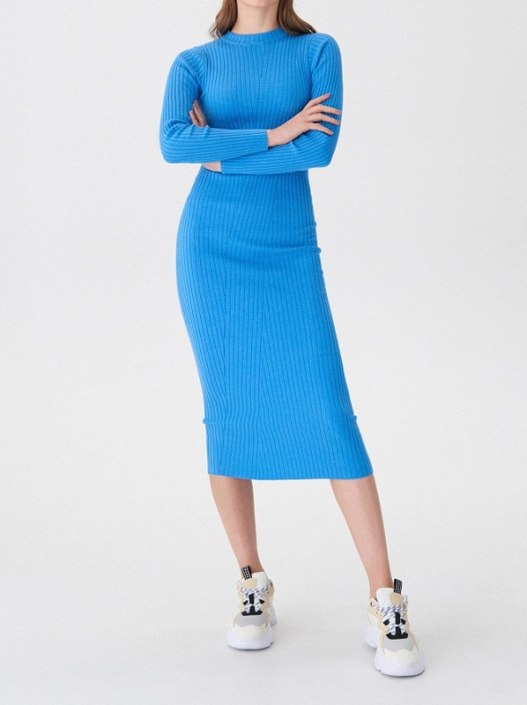 Sukienka House nowa prążki maxi baby blue 36 38