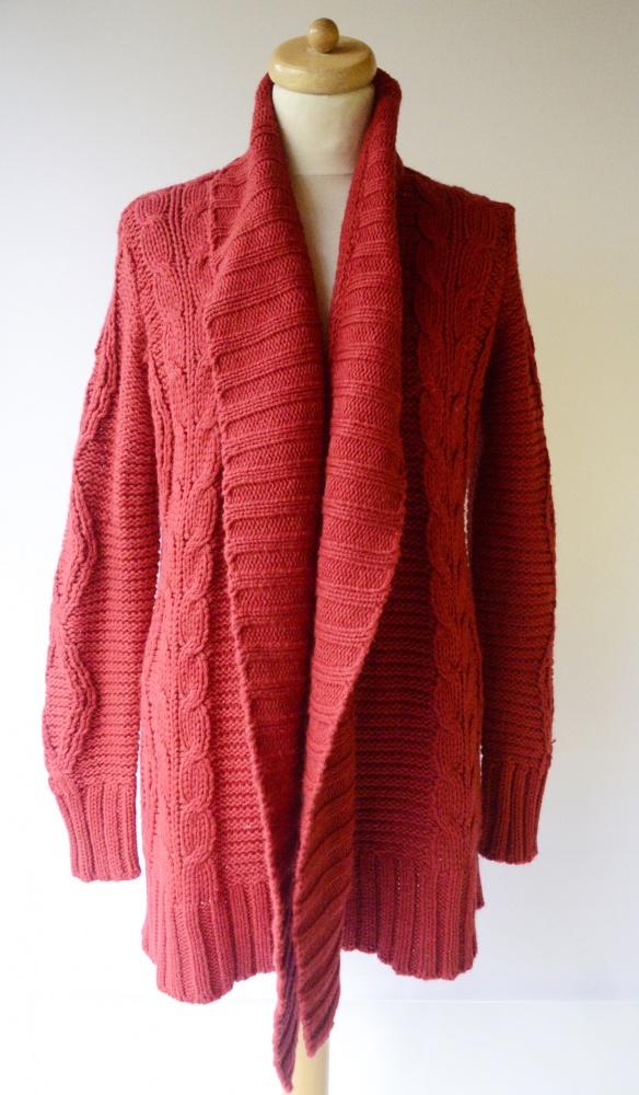 Sweter Czerwony Cubus M 38 Warkocze Wełniany Wełna Long...