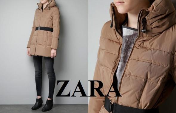 Odzież wierzchnia ZARA WOMAN kurtka płaszcz puchowy beżowy 36 S