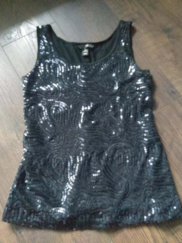 Bluzka bez rękawów czarna cekiny błyszcząca H&M S 36...
