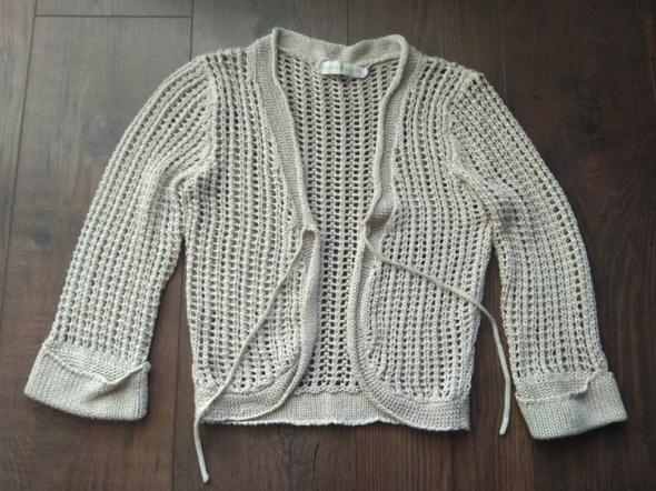 Beżowy sweter narzutka bolerko rękaw 3 4 Cache Cache S 36