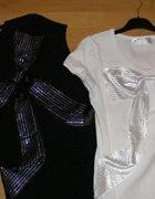 Bluzeczka czarna lub biała cyrkonie M L