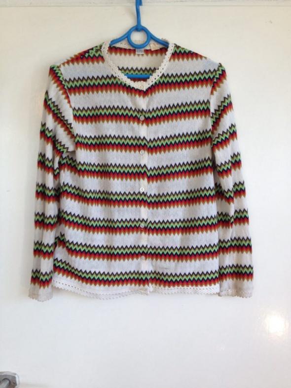 Kardigan sweter sweterek zygzak zygzaki etno wzory wzorzysty M ...