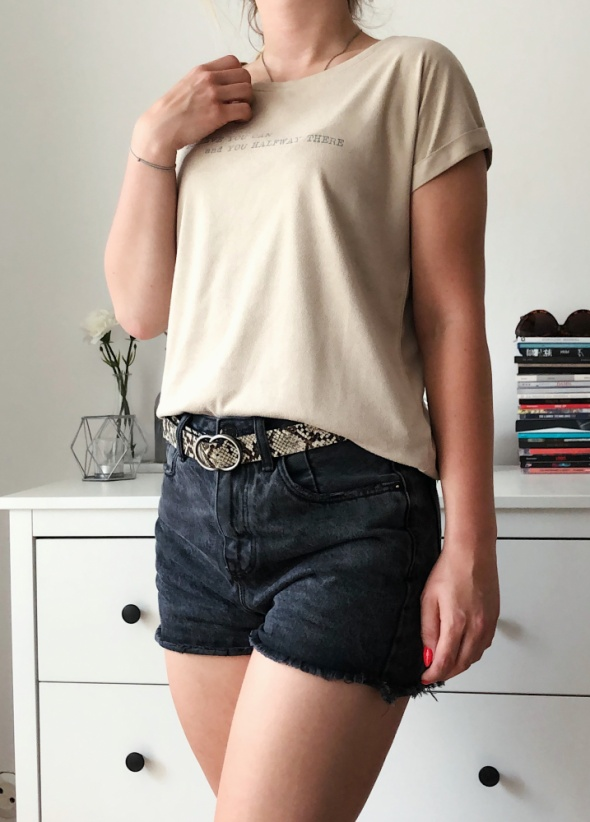 Reserved beżowy nude tshirt zamszowy minimal basic...