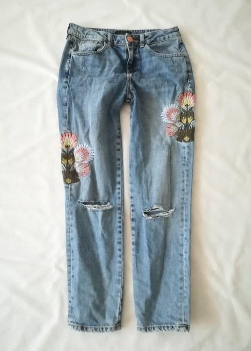 Spodnie River Island jeansy haft destroyed S