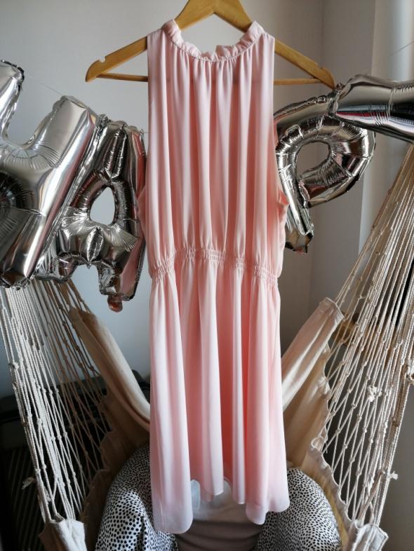 Sukienka letnia zwiewna H&M 40 L pudrowy róż lato mgiełka lekka