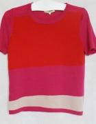 Kolorowy sweterek asymetryczny wzór Wełna 100