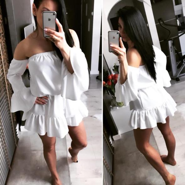 Sukienka biała hiszpanka rozkloszowana sznurowana...