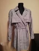 Reserved trencz płaszcz w kratę 36 S